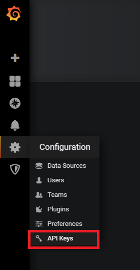 Configuration menu in Grafana
