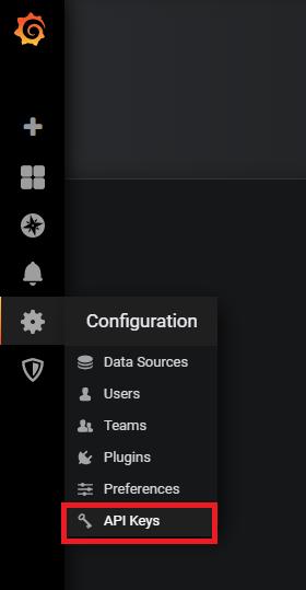 Configuration menu in Grafana