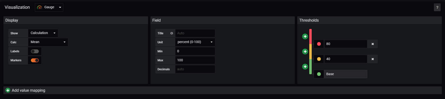 Grafana display options