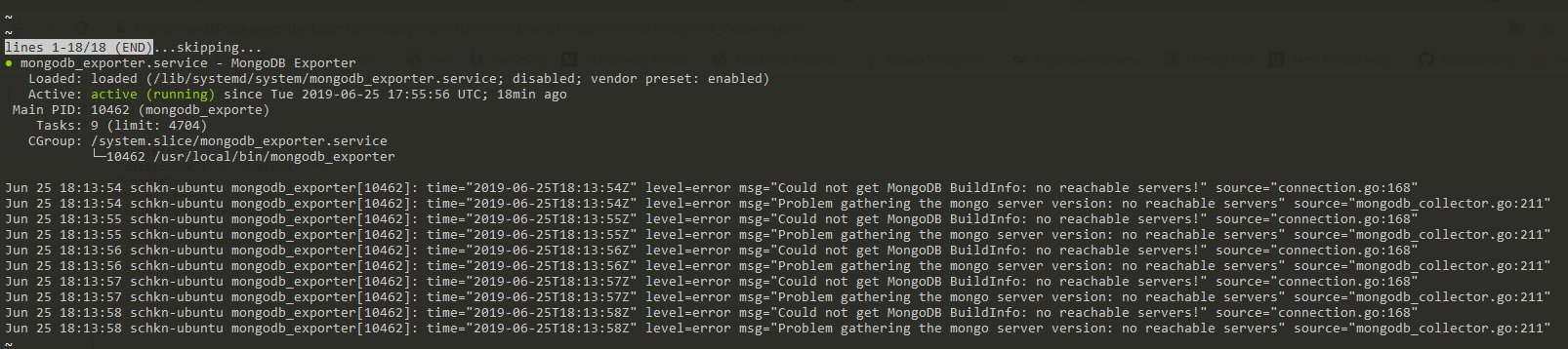 Could not get MongoDB BuildInfo: no reachable servers!