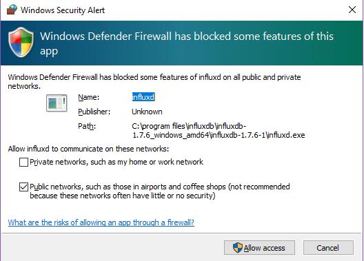 InfluxDB firewall permission