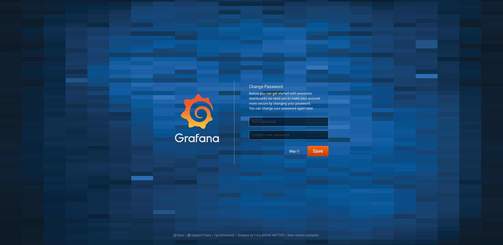 Grafana change password page
