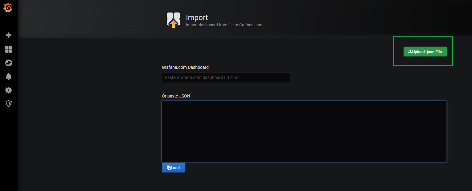 Grafana import dashboard window
