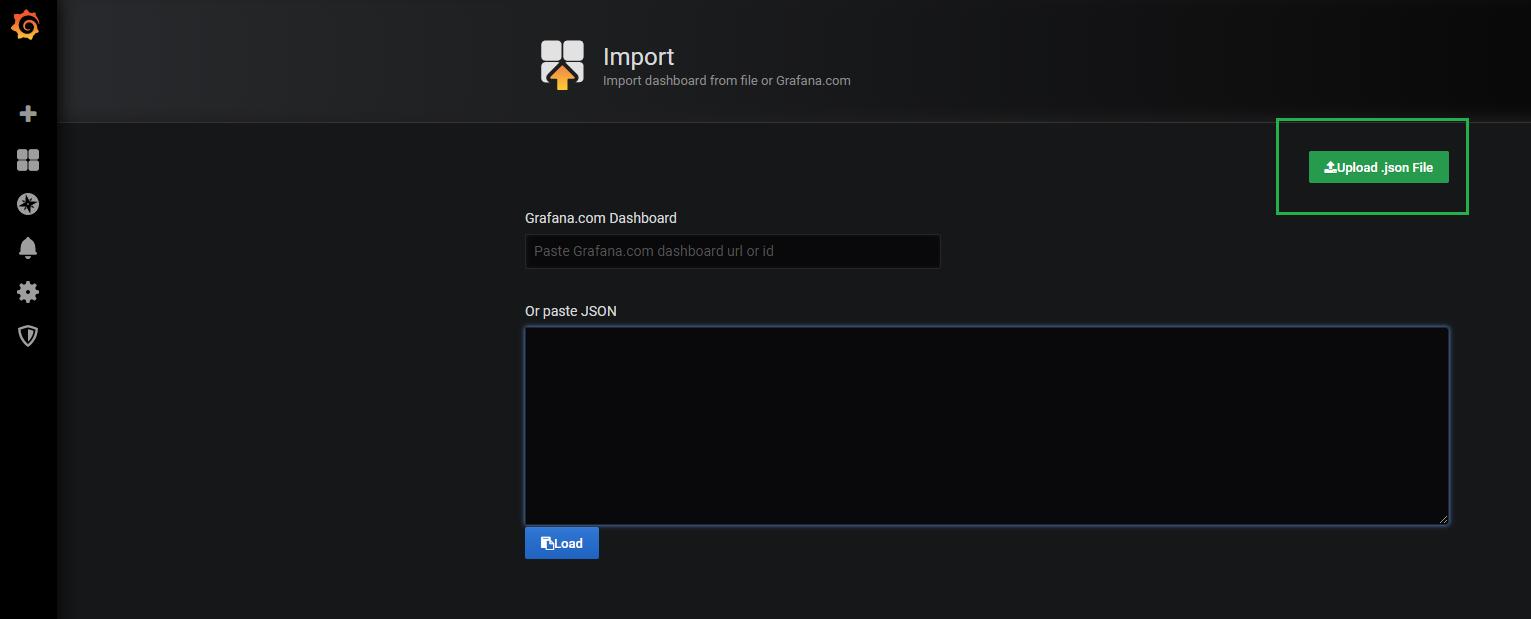 Grafana import dashboard window