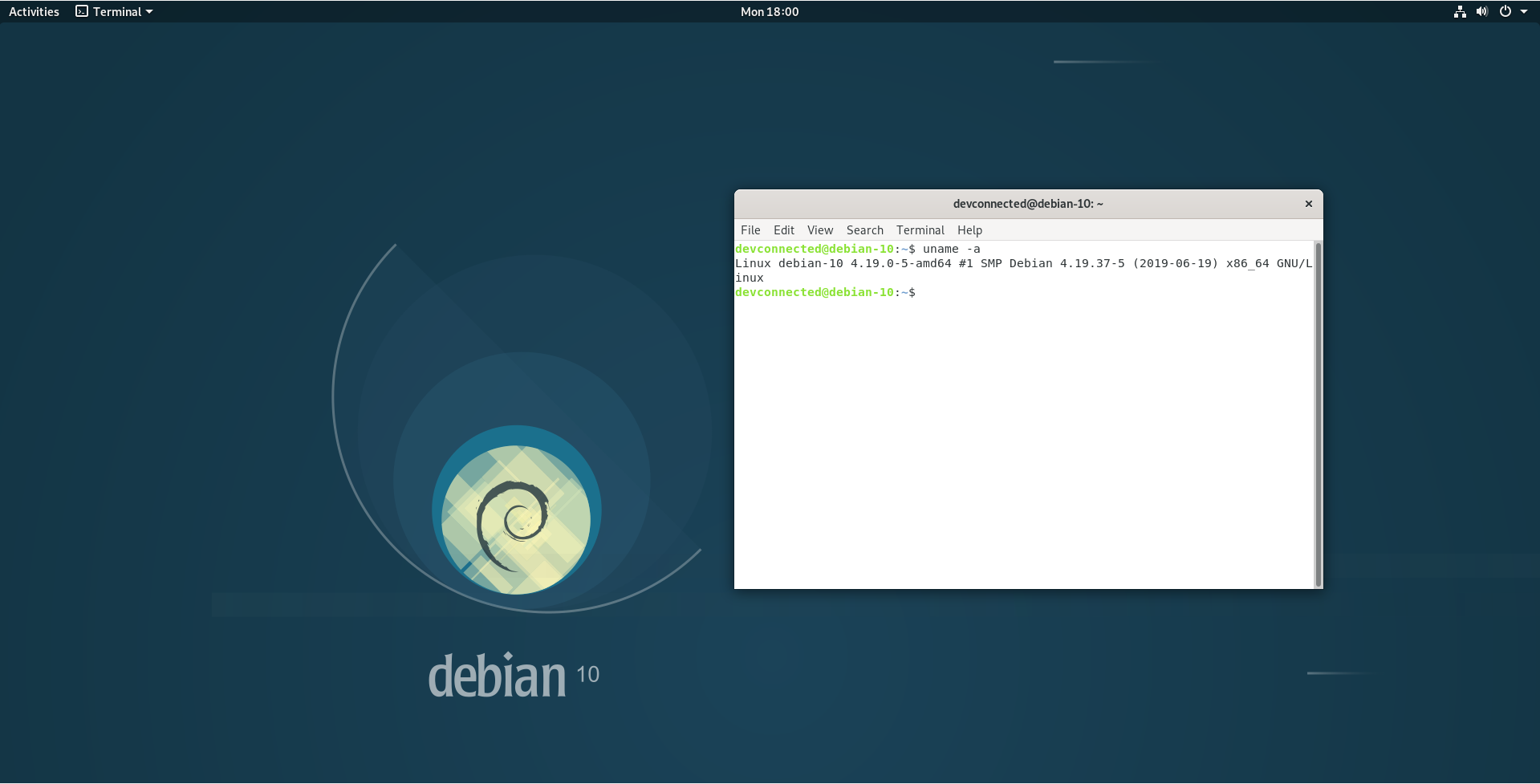 Debian 10 final desktop look