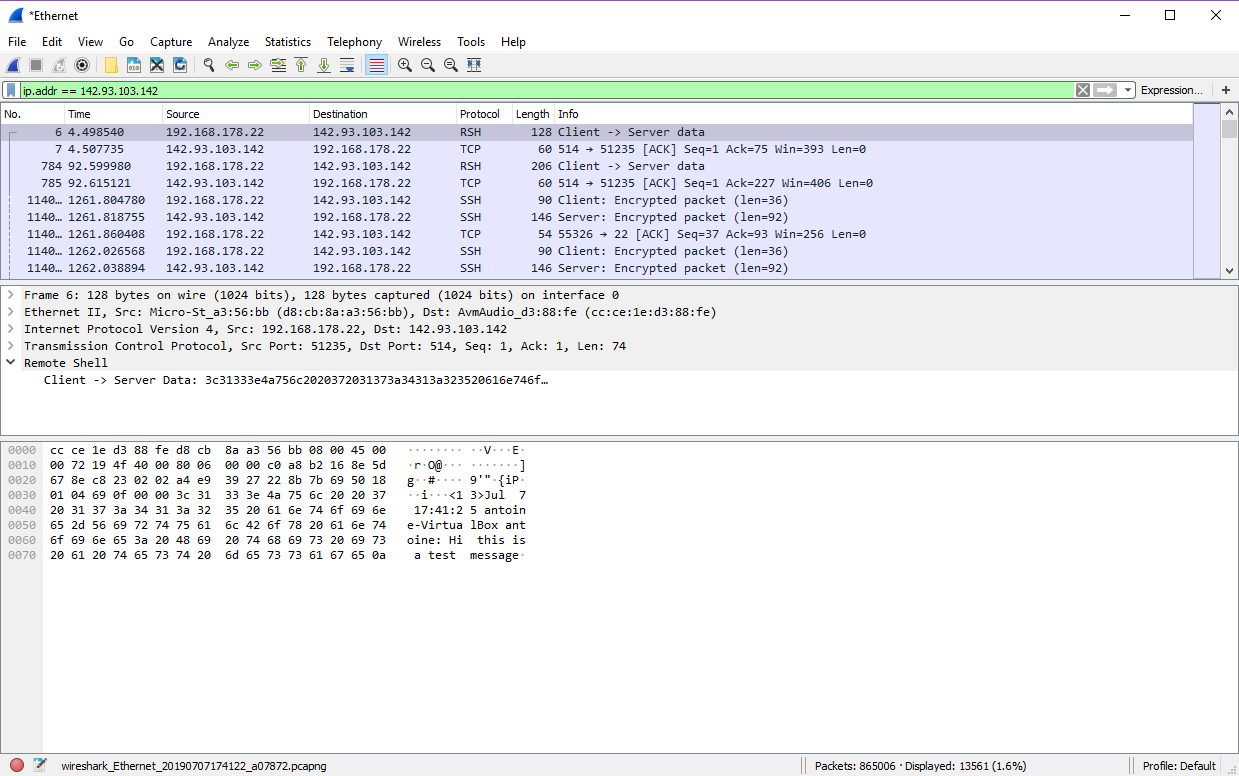 Unsecured TCP traffic from Wireshark