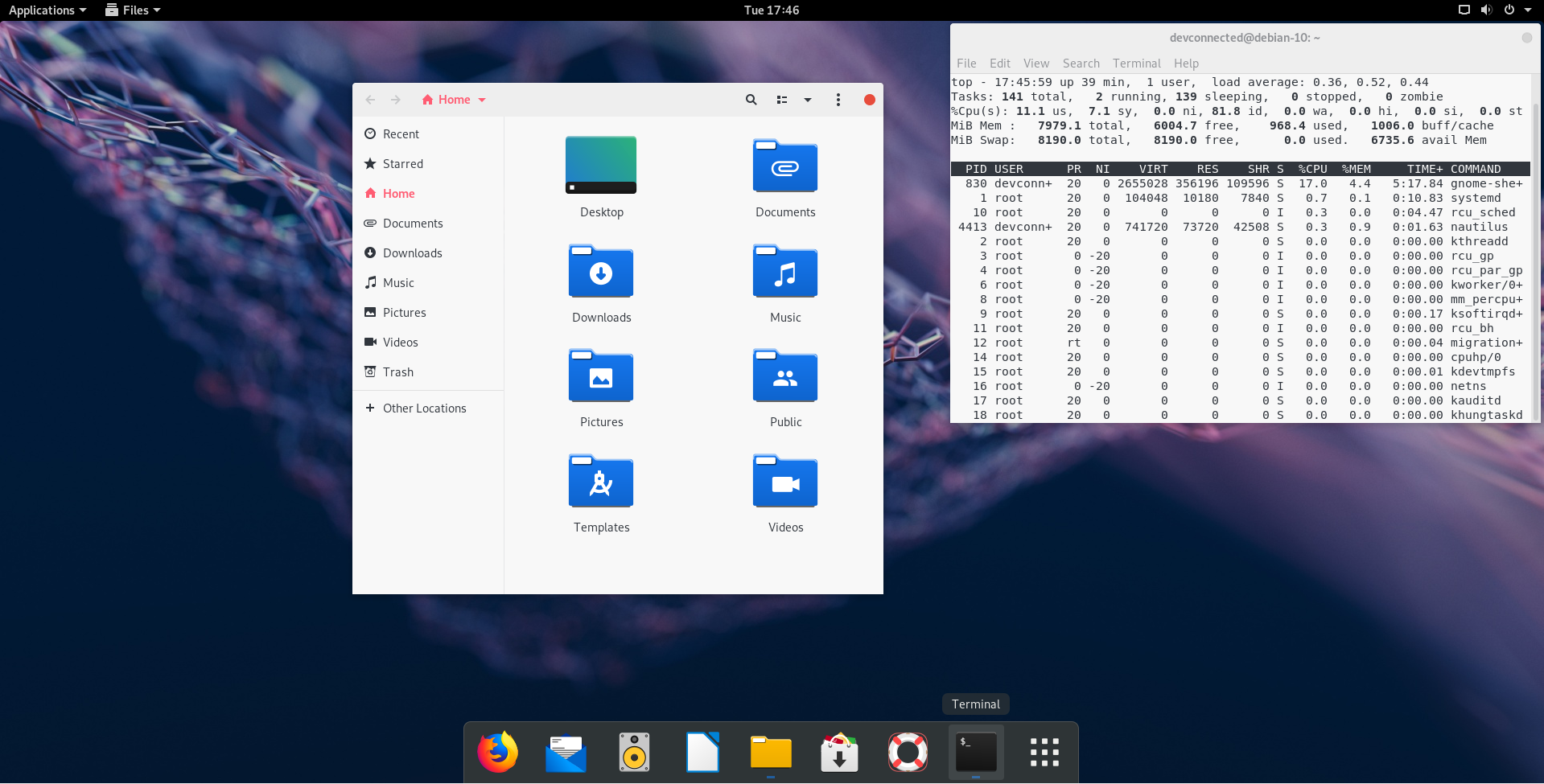 Debian 10 final look with theming