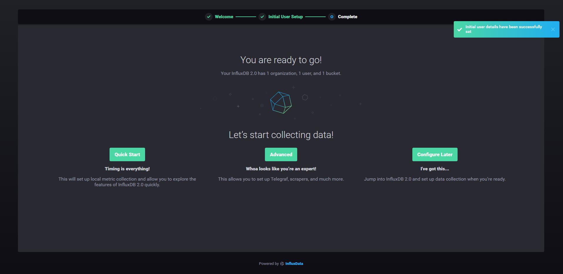 InfluxDB 2.0 ready to go screen