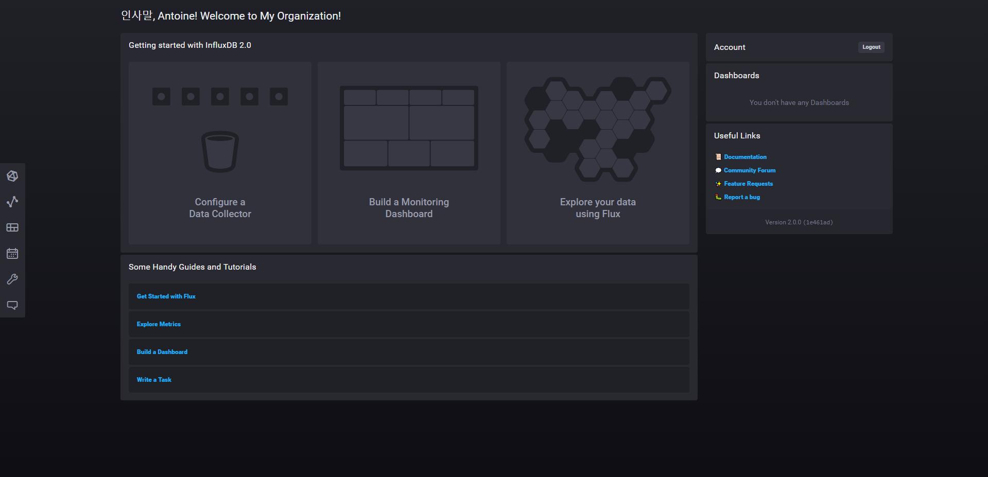 InfluxDB 2.0 welcome screen