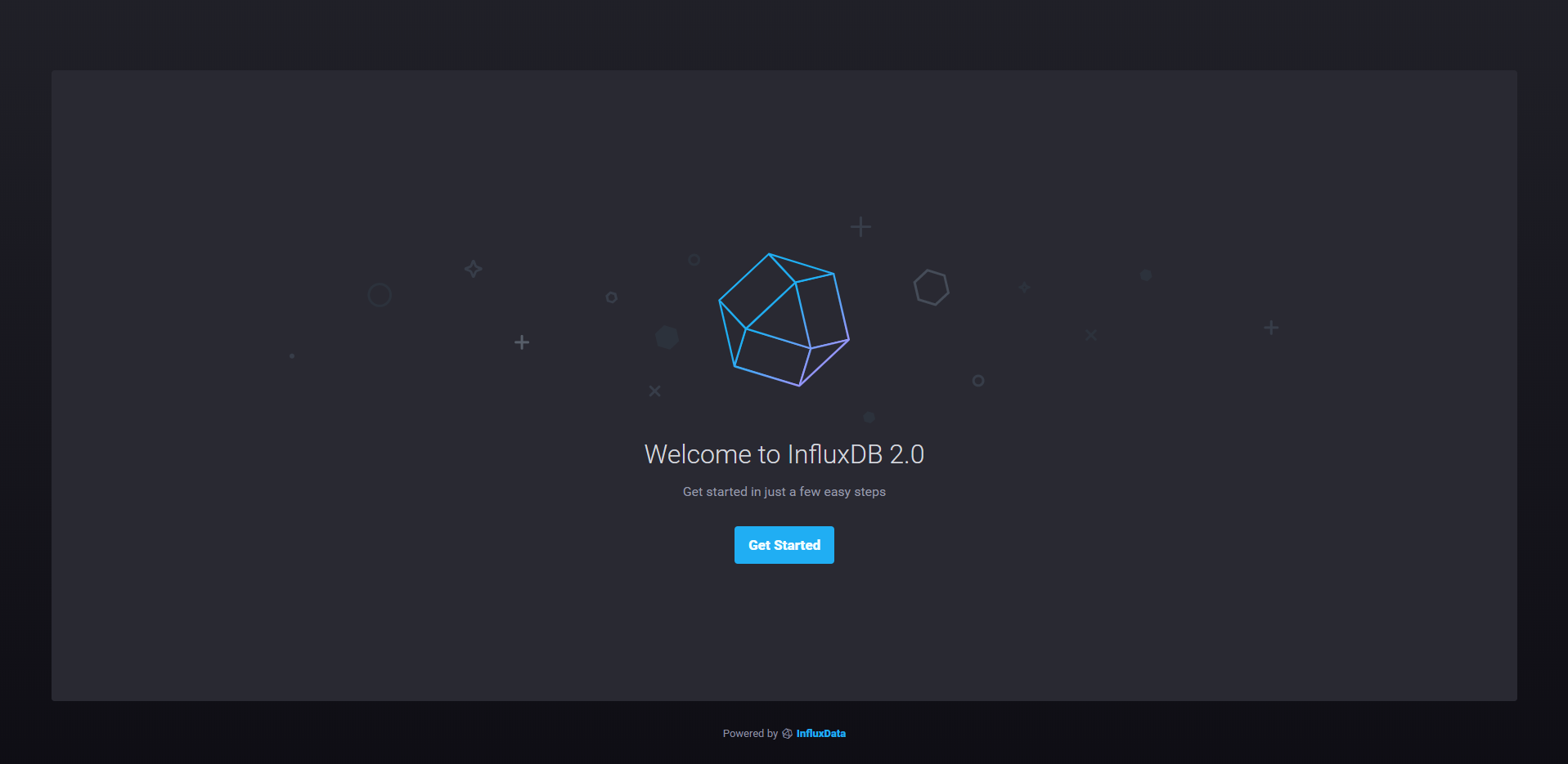 InfluxDB 2.0 setup screen