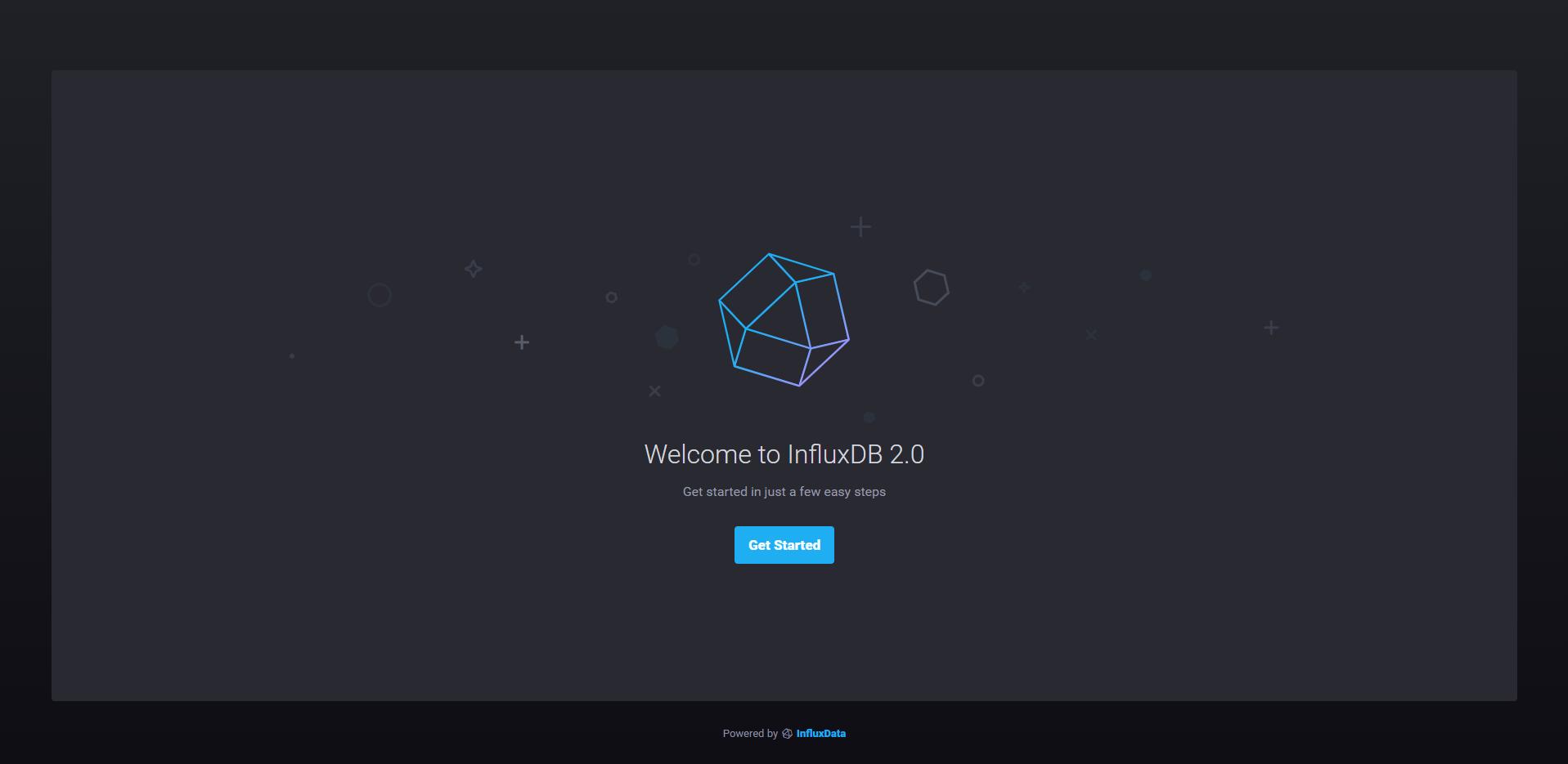 InfluxDB 2.0 setup screen