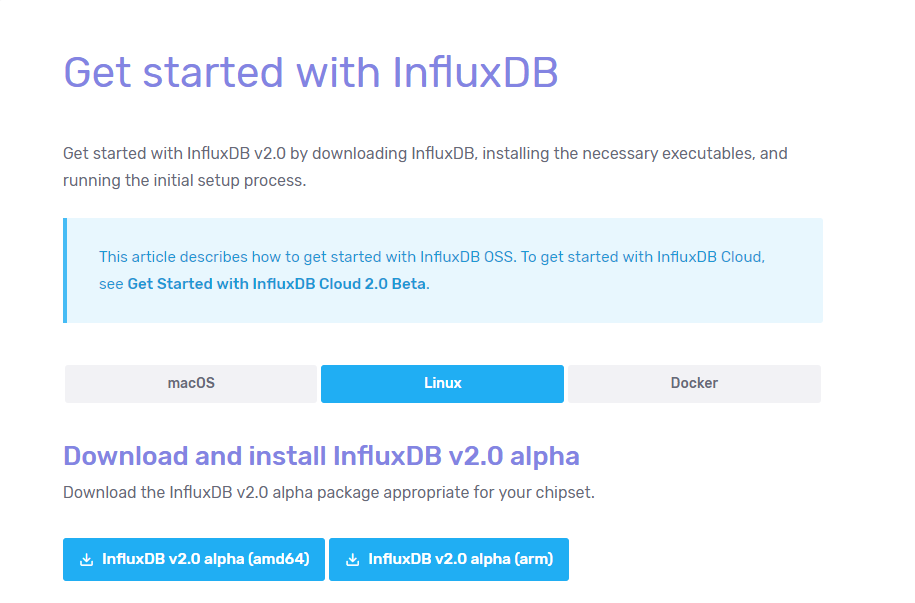 Installing InfluxDB 2.0 instructions