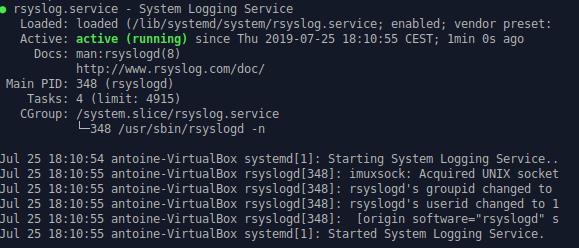 rsyslog service shell output