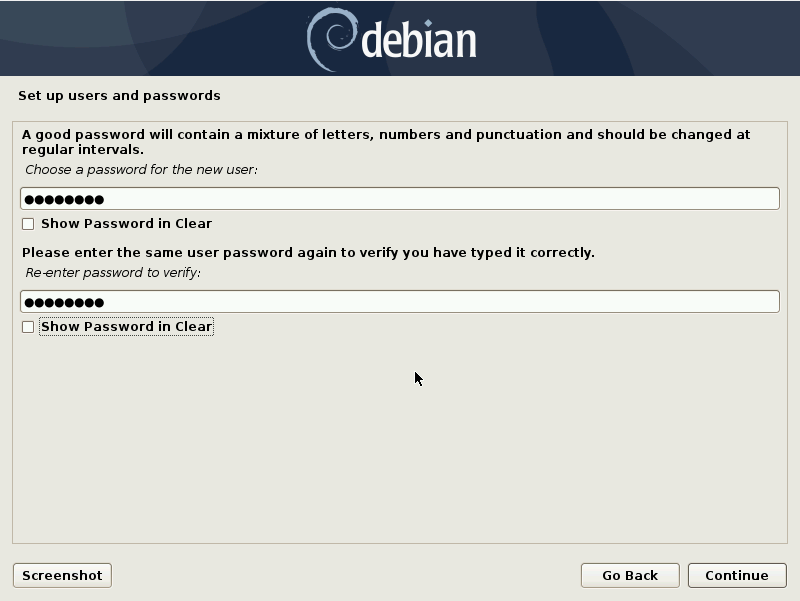 Debian 10 installation - Select a password for the user account