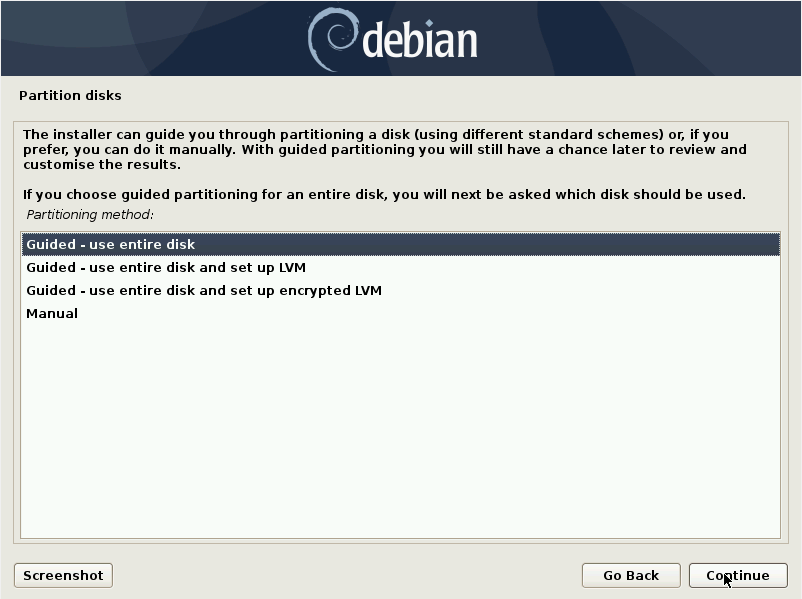 Debian 10 installation - Select a partition method