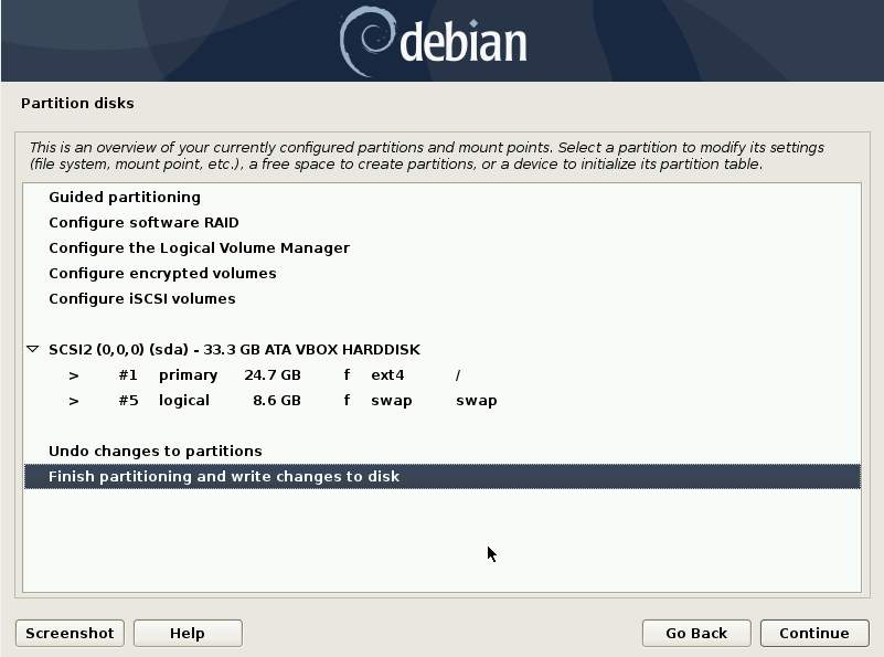 Debian 10 installation - Finish partitioning