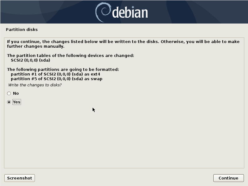 Debian 10 installation - Write the changes to disk