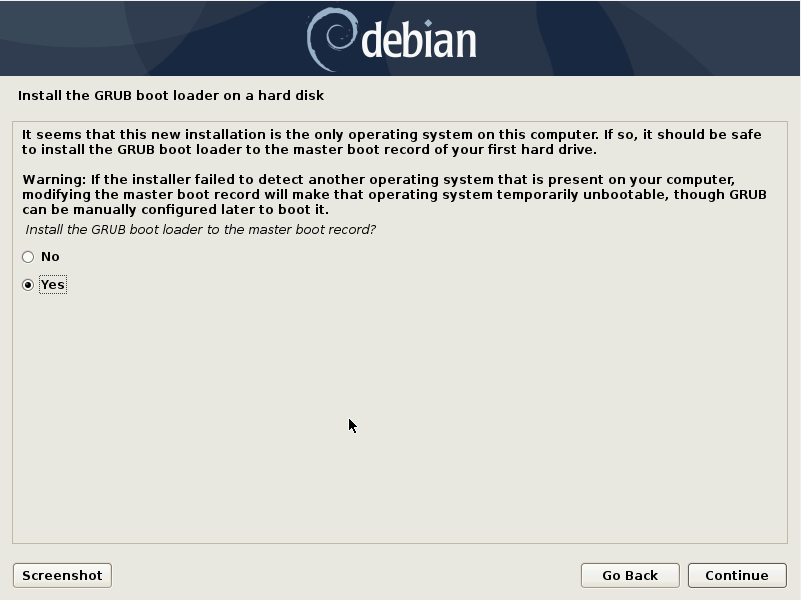 Debian 10 installation - Install Grub boot loader on a hard disk