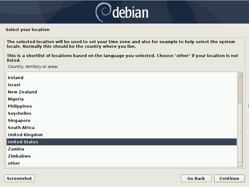 Debian 10 installation - Select a location