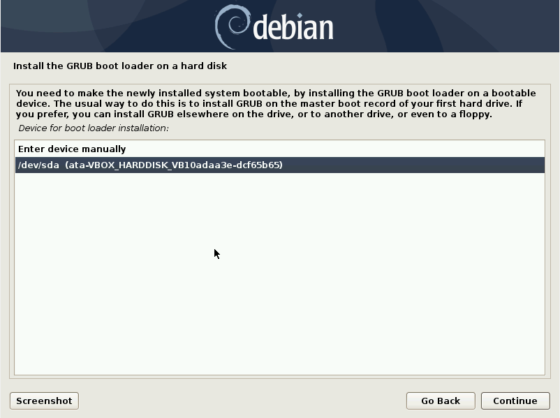 Debian 10 installation - Select the disk where to install the grub