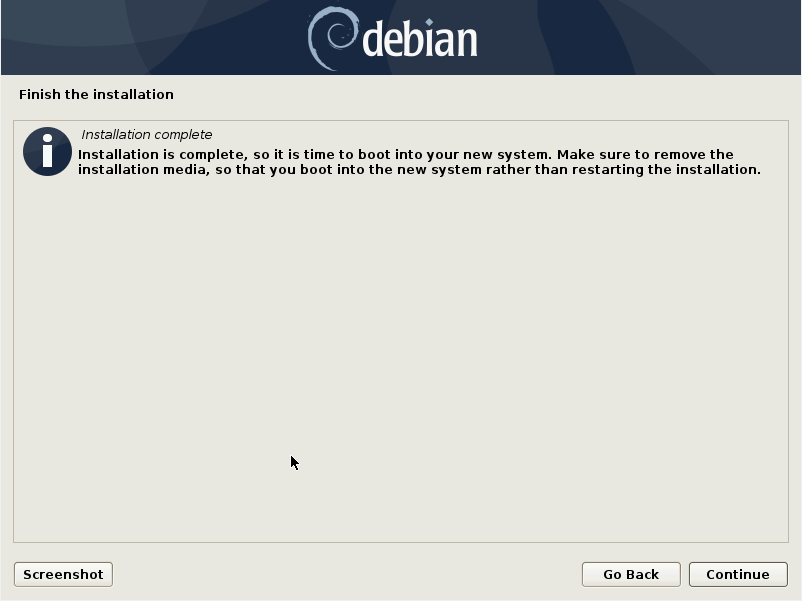 Debian 10 installation - Finish the installation