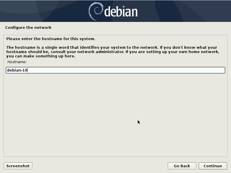 Debian 10 installation - Select a network name