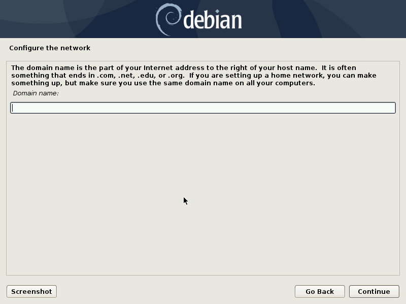 Debian 10 installation - Select a domain name