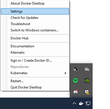 Configuring Docker Desktop on Windows 10