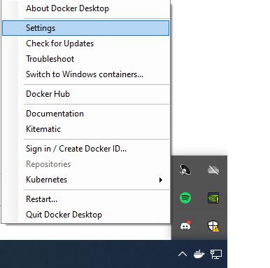 Configuring Docker Desktop on Windows 10