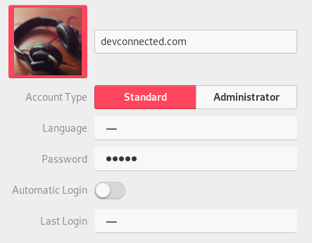 User account created on Debian 10