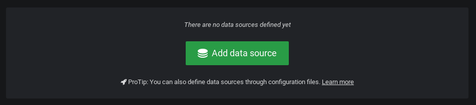 Add data source button in Grafana