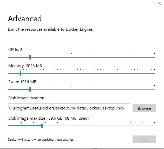 Configuring Docker Desktop resources