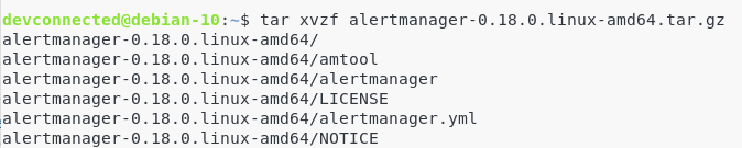 Untar the AlertManager archive