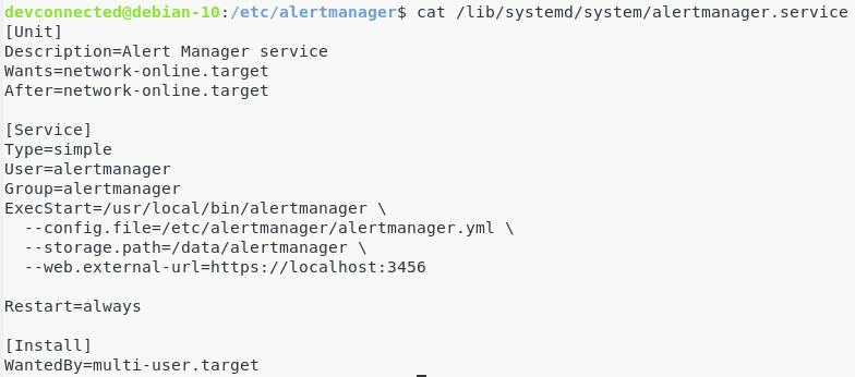 Service file for the AlertManager