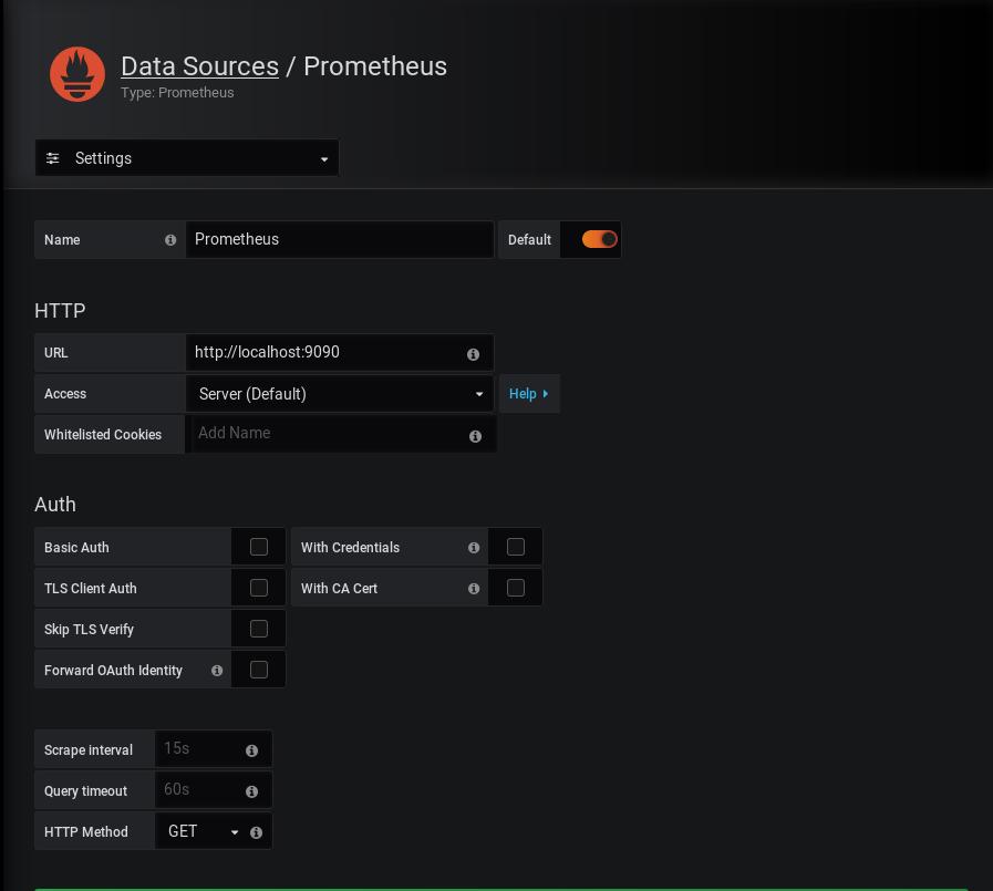 Prometheus Docker configuration for Grafana