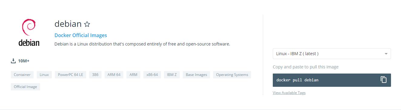 Debian repository on Docker Hub