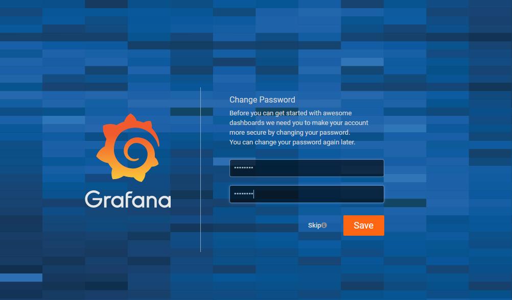 Grafana change password window