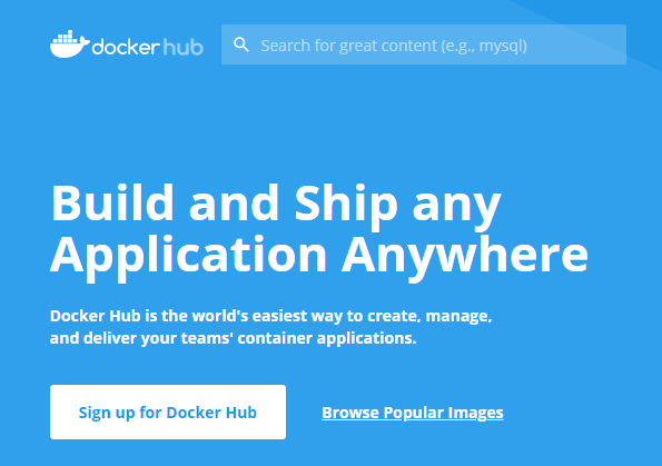 Docker Hub front page