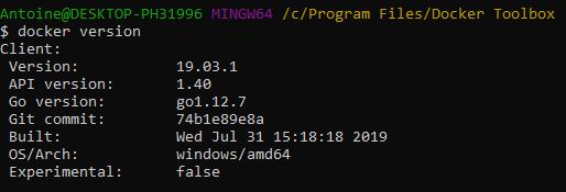 Docker version command on Docker Toolbox