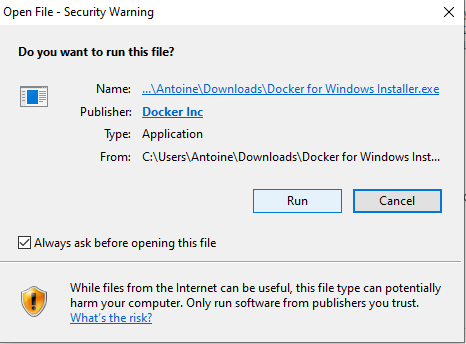 Install Docker on Windows running file