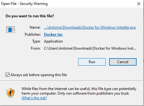 Install Docker on Windows running file