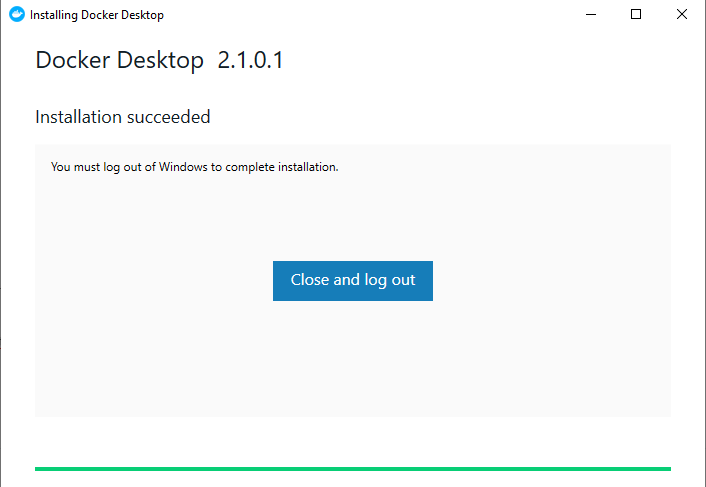 Docker Desktop Installation  for Windows success