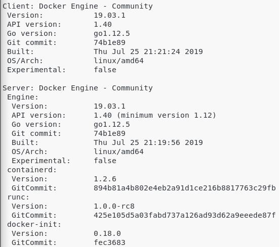 Docker engine (client and server) installed on Linux