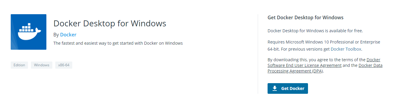 Install Docker Desktop for Windows