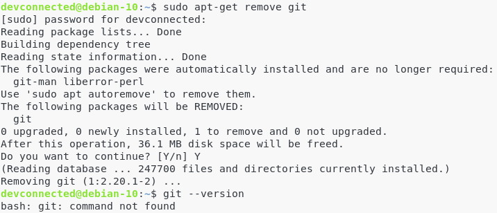 How to remove Git from Debian 10