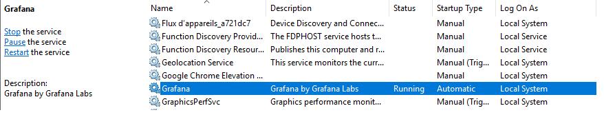 Grafana service on Windows