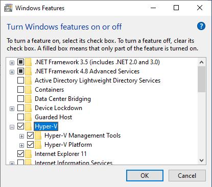 Turning Hyper V on on Windows 10