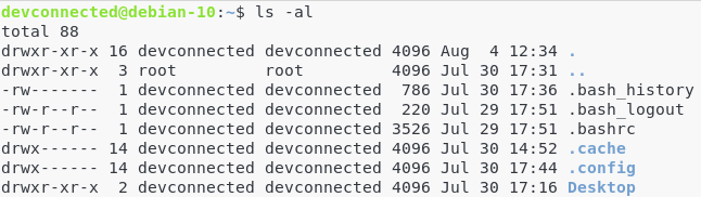 Full ls command in a shell