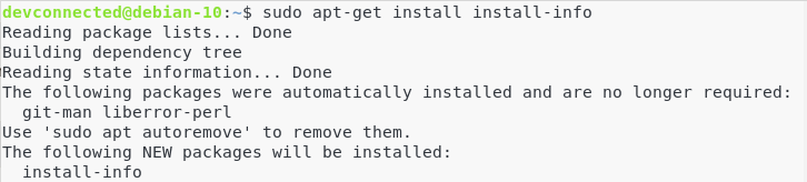 Installing the install-info package for Git