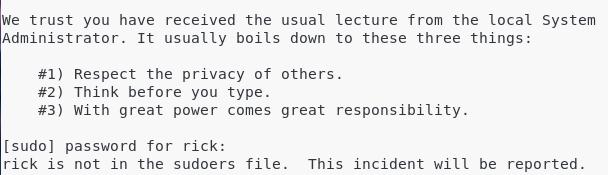 User not in sudoers file on Debian 10